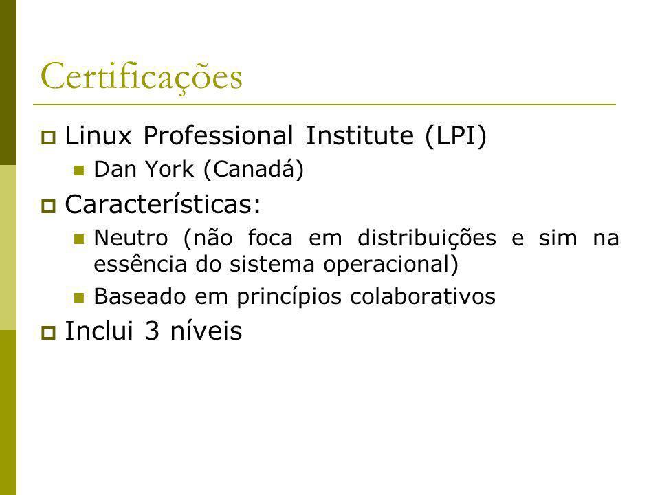 Certificações Linux Professional Institute (LPI) Características: