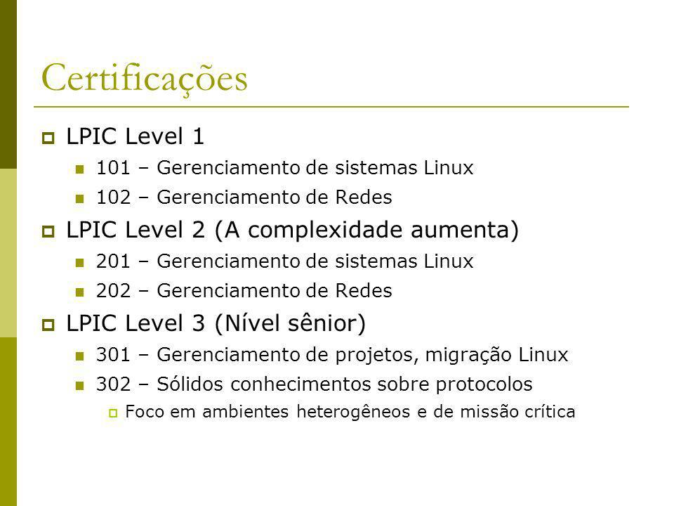 Certificações LPIC Level 1 LPIC Level 2 (A complexidade aumenta)