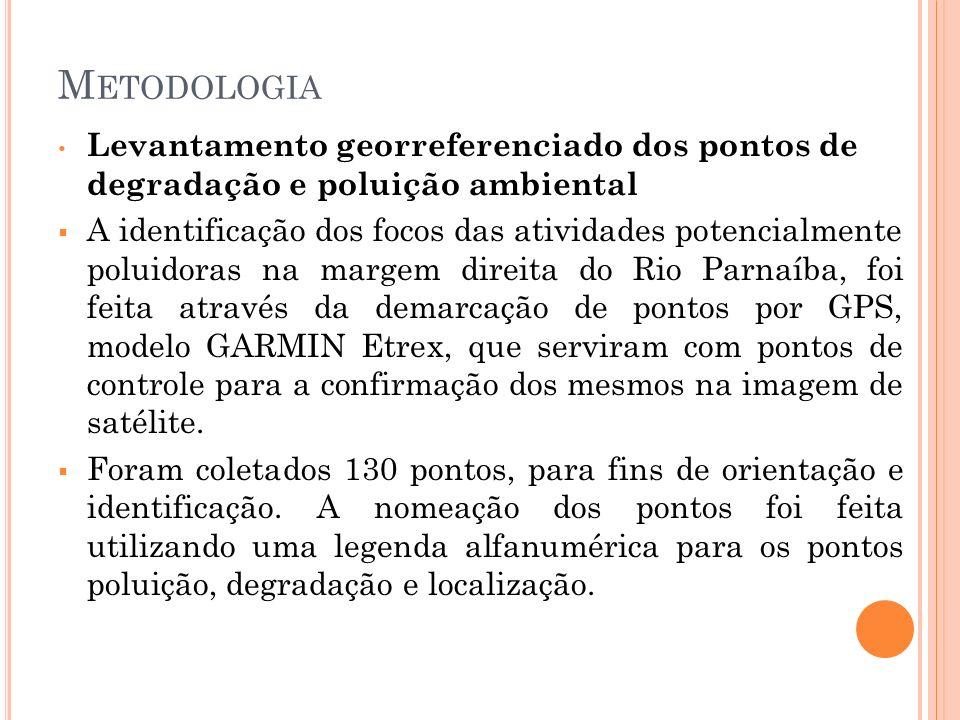 Metodologia Levantamento georreferenciado dos pontos de degradação e poluição ambiental.