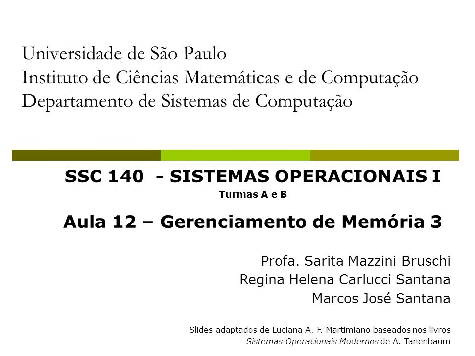 SSC 140 - SISTEMAS OPERACIONAIS I Aula 12 – Gerenciamento de Memória 3