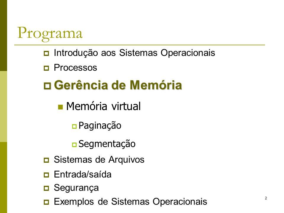 Programa Gerência de Memória Memória virtual