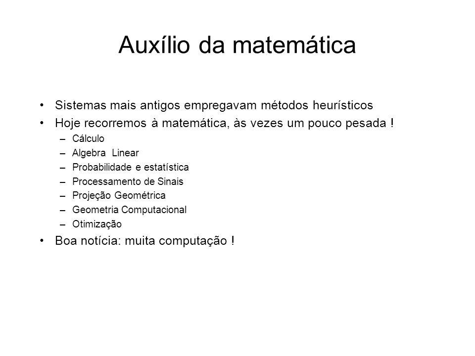Auxílio da matemática Sistemas mais antigos empregavam métodos heurísticos. Hoje recorremos à matemática, às vezes um pouco pesada !