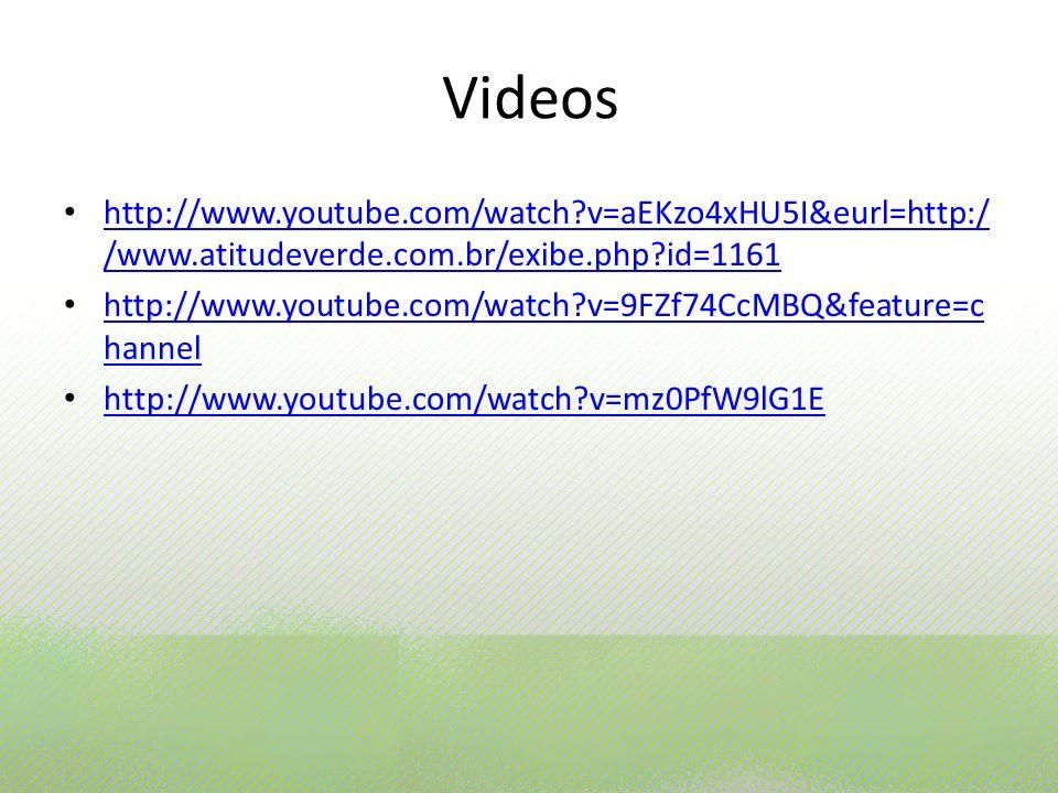 Videos http://www.youtube.com/watch v=aEKzo4xHU5I&eurl=http://www.atitudeverde.com.br/exibe.php id=1161.