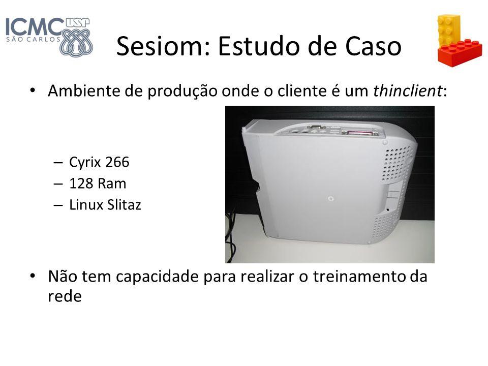 Sesiom: Estudo de Caso Ambiente de produção onde o cliente é um thinclient: Cyrix 266. 128 Ram. Linux Slitaz.