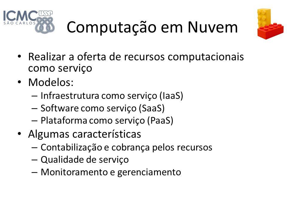 Computação em Nuvem Realizar a oferta de recursos computacionais como serviço. Modelos: Infraestrutura como serviço (IaaS)