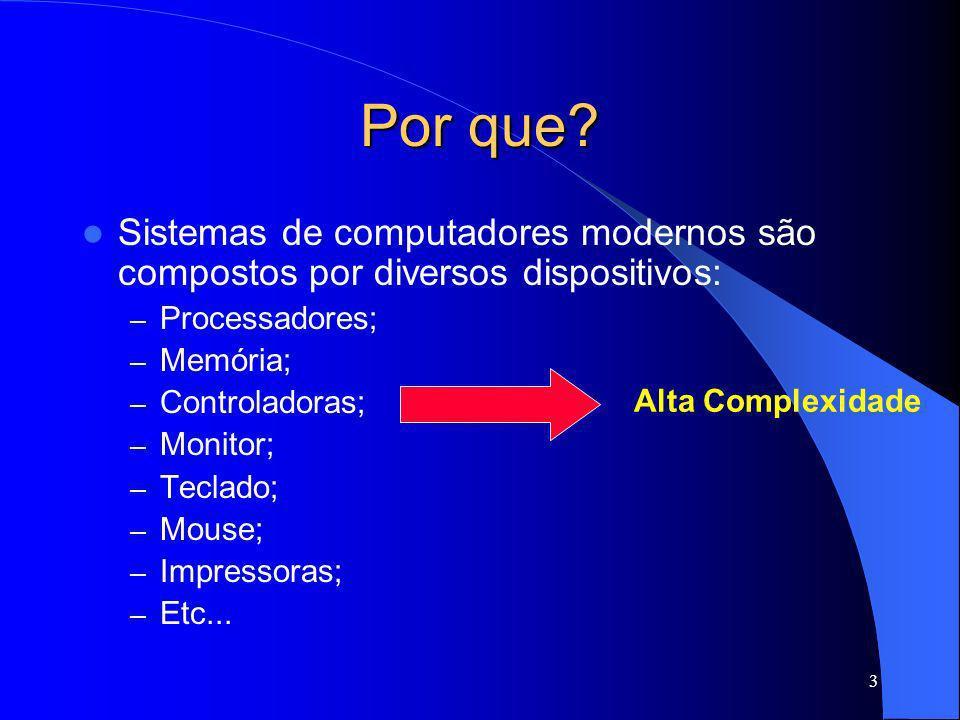 Por que Sistemas de computadores modernos são compostos por diversos dispositivos: Processadores;