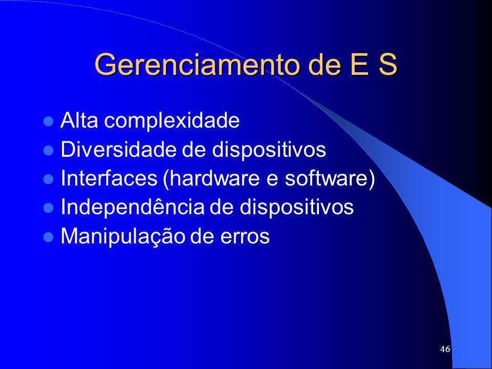 Gerenciamento de E S Alta complexidade Diversidade de dispositivos