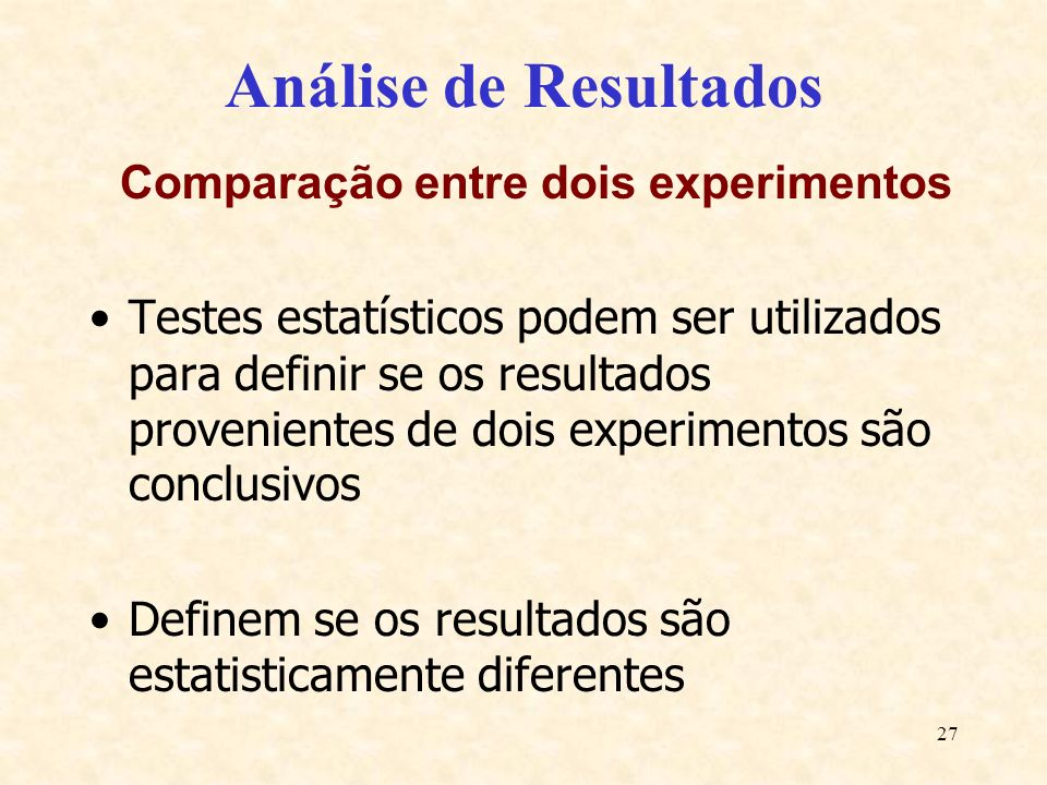 Comparação entre dois experimentos