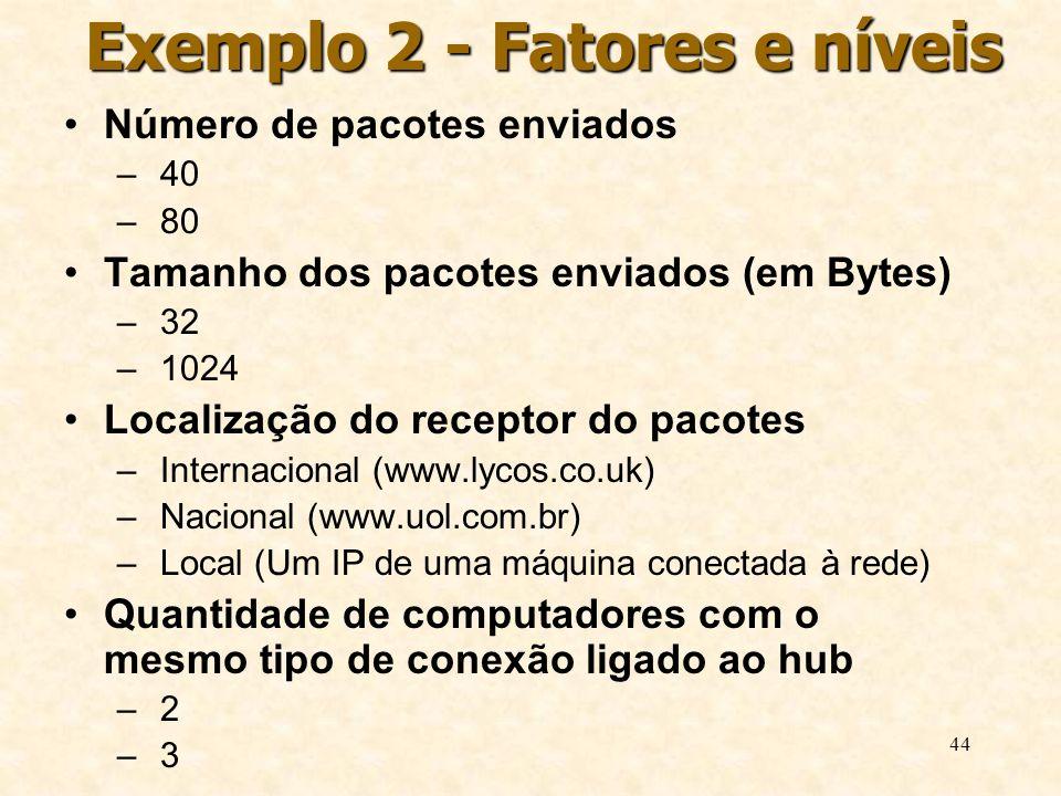 Exemplo 2 - Fatores e níveis