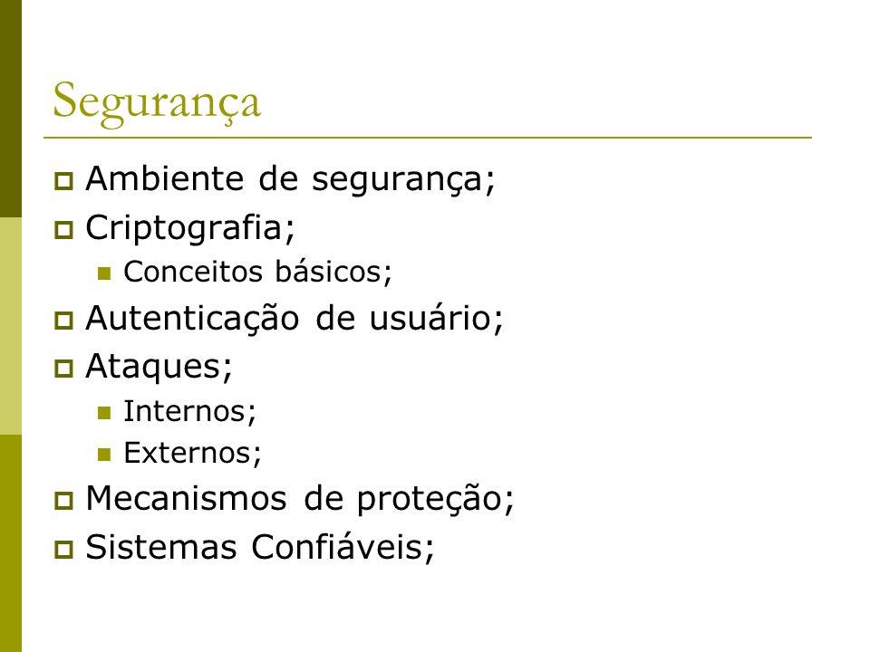 Segurança Ambiente de segurança; Criptografia;