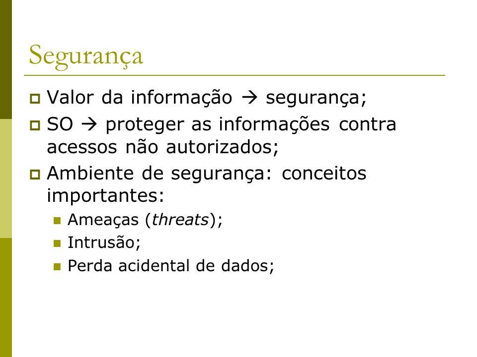 Segurança Valor da informação  segurança;