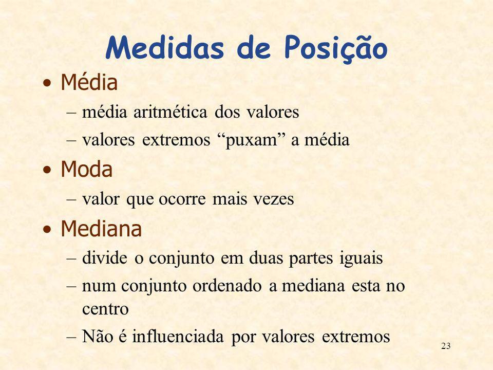 Medidas de Posição Média Moda Mediana média aritmética dos valores