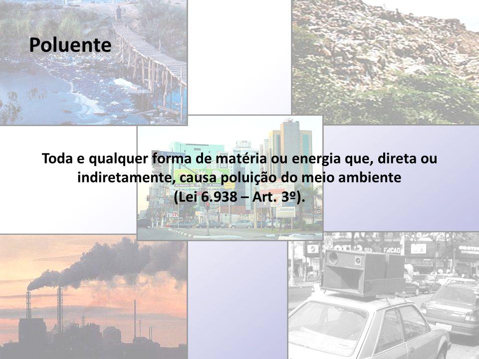 Poluente Toda e qualquer forma de matéria ou energia que, direta ou indiretamente, causa poluição do meio ambiente.