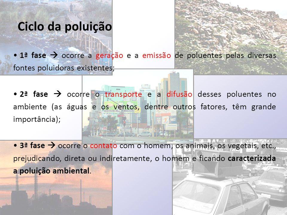 Ciclo da poluição 1ª fase  ocorre a geração e a emissão de poluentes pelas diversas fontes poluidoras existentes;