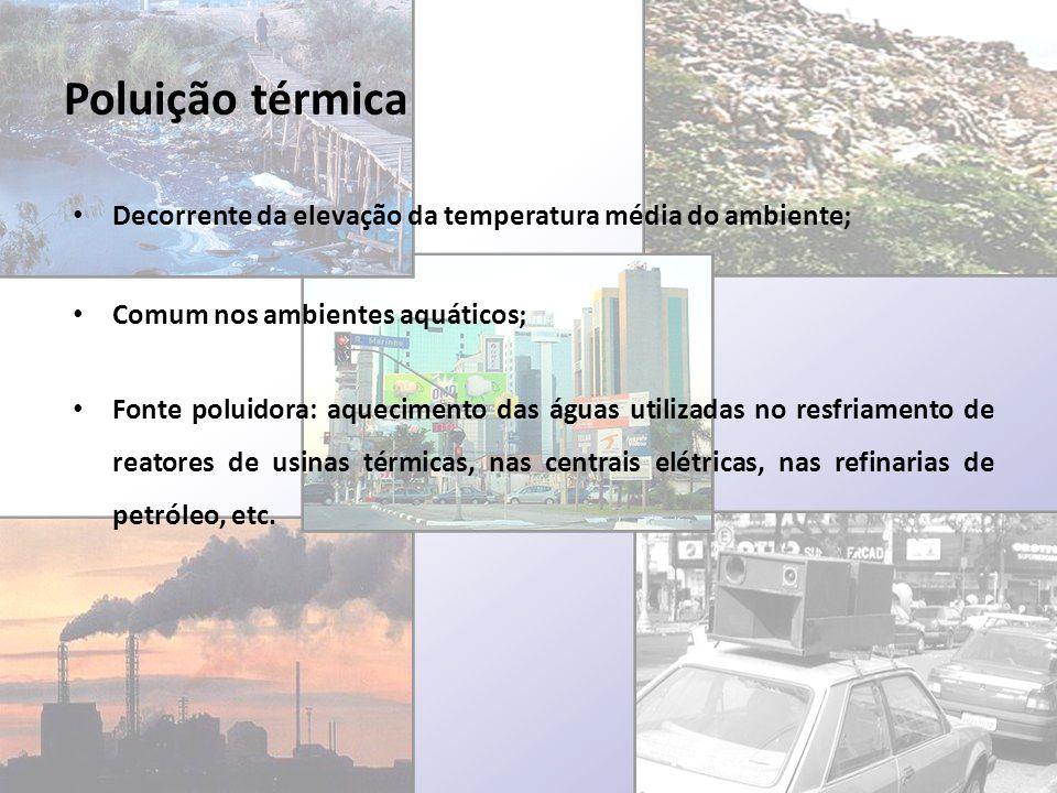 Poluição térmica Decorrente da elevação da temperatura média do ambiente; Comum nos ambientes aquáticos;