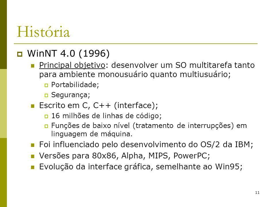 História WinNT 4.0 (1996) Principal objetivo: desenvolver um SO multitarefa tanto para ambiente monousuário quanto multiusuário;