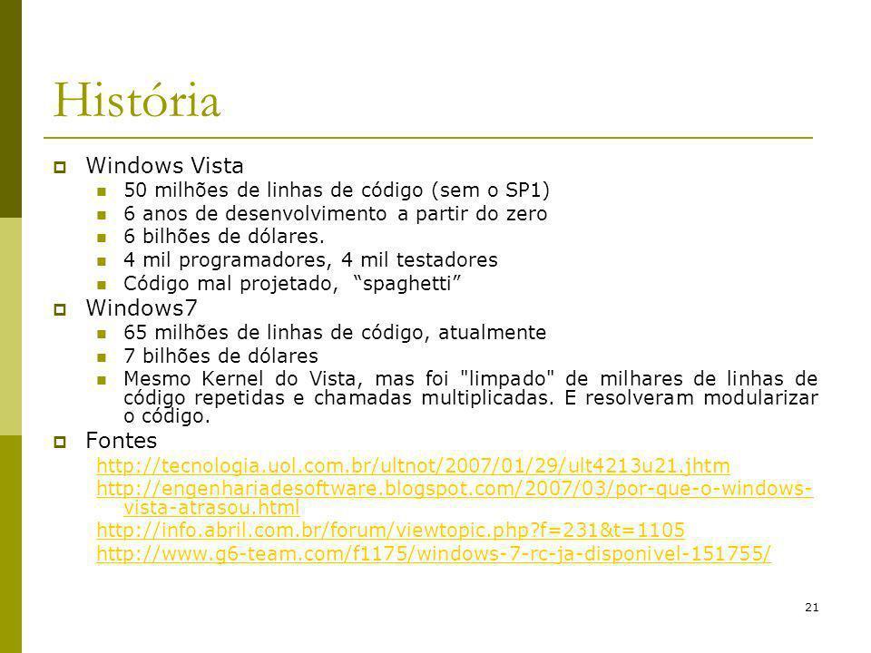 História Windows Vista Windows7 Fontes