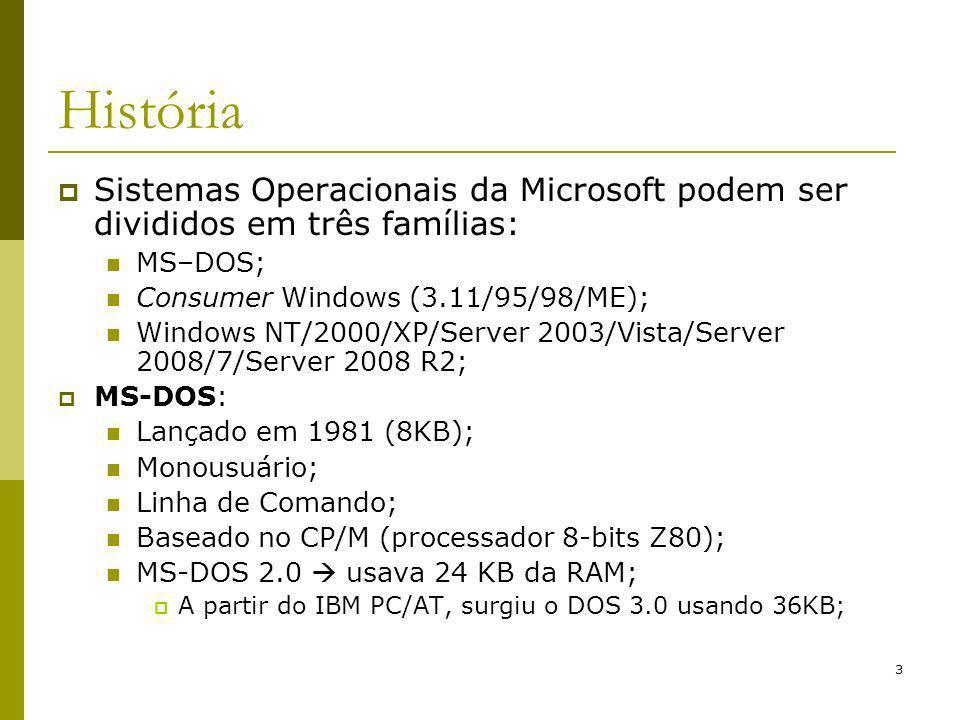 História Sistemas Operacionais da Microsoft podem ser divididos em três famílias: MS–DOS; Consumer Windows (3.11/95/98/ME);