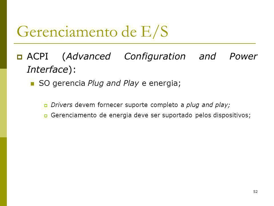 Gerenciamento de E/S ACPI (Advanced Configuration and Power Interface): SO gerencia Plug and Play e energia;