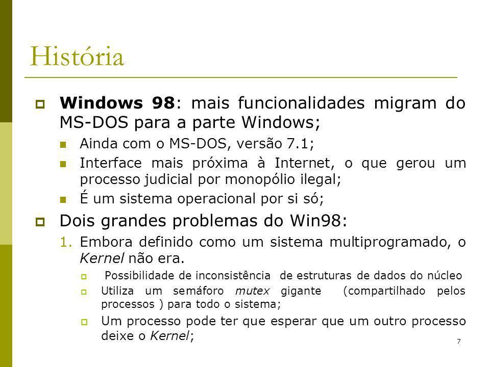 História Windows 98: mais funcionalidades migram do MS-DOS para a parte Windows; Ainda com o MS-DOS, versão 7.1;