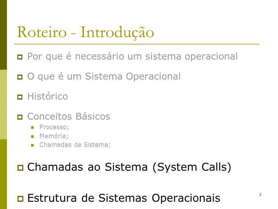 Roteiro - Introdução Chamadas ao Sistema (System Calls)