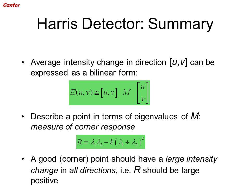 Harris Detector: Summary
