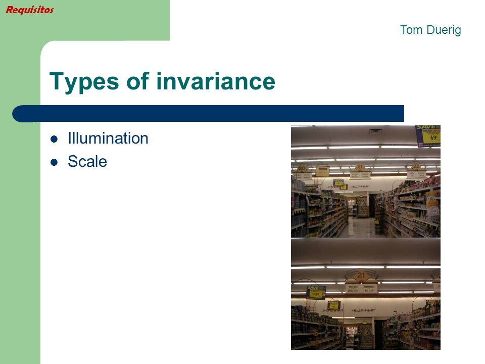 Requisitos Tom Duerig Types of invariance Illumination Scale