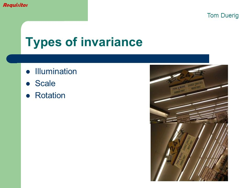 Requisitos Tom Duerig Types of invariance Illumination Scale Rotation