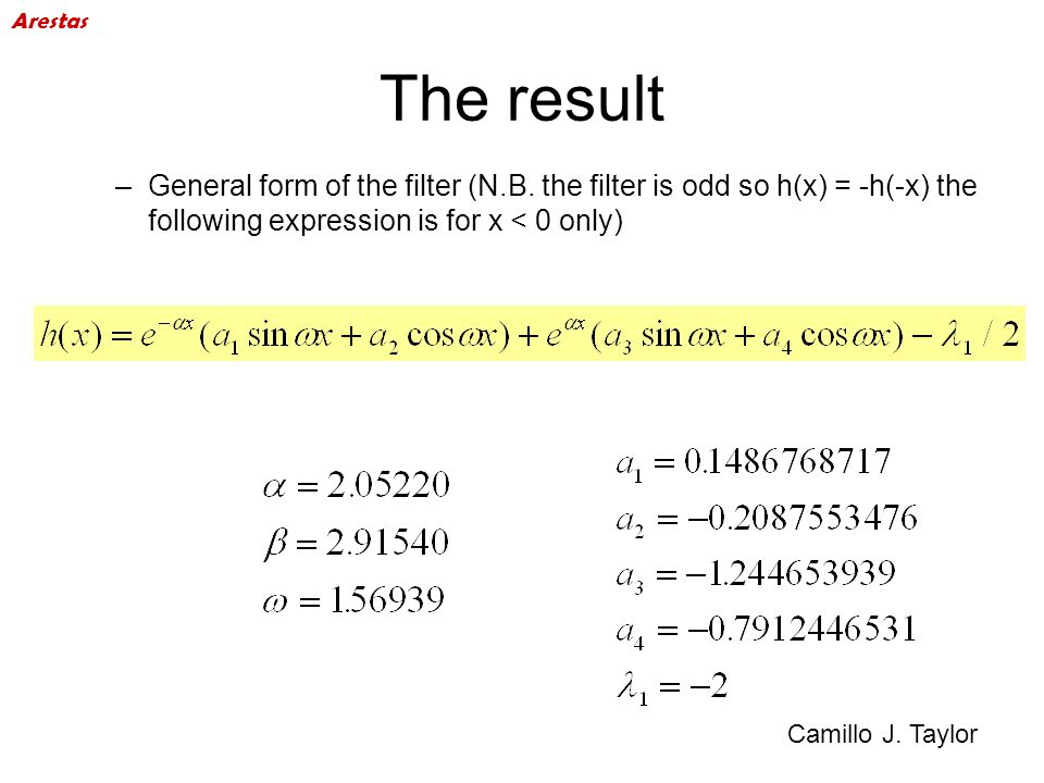 ArestasThe result. General form of the filter (N.B. the filter is odd so h(x) = -h(-x) the following expression is for x < 0 only)