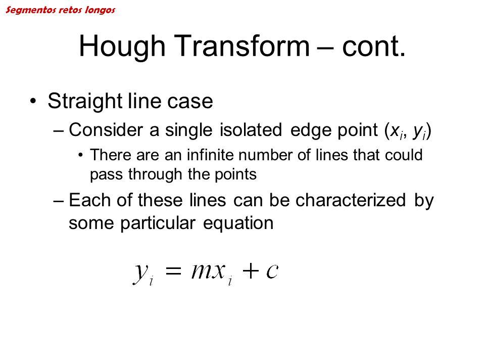 Hough Transform – cont. Straight line case