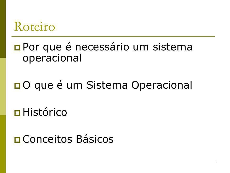 Roteiro Por que é necessário um sistema operacional