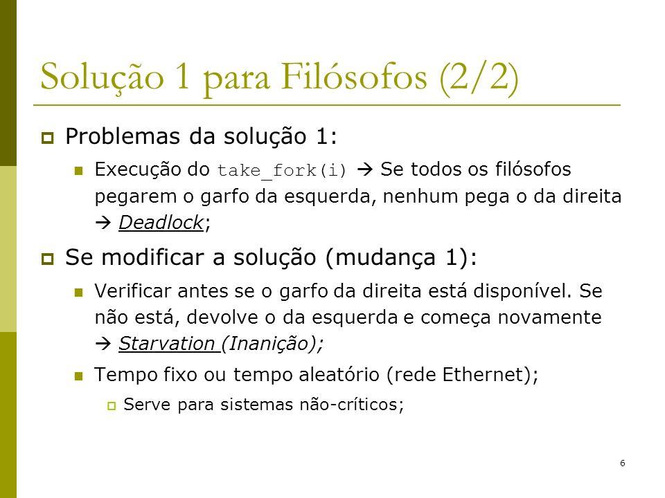 Solução 1 para Filósofos (2/2)