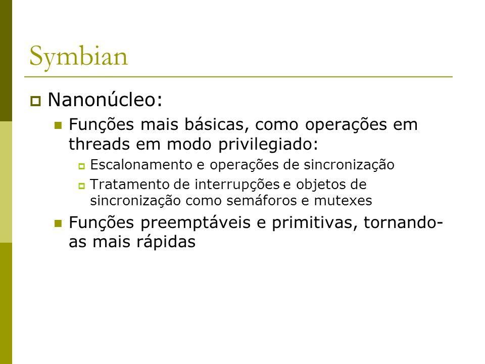 Symbian Nanonúcleo: Funções mais básicas, como operações em threads em modo privilegiado: Escalonamento e operações de sincronização.