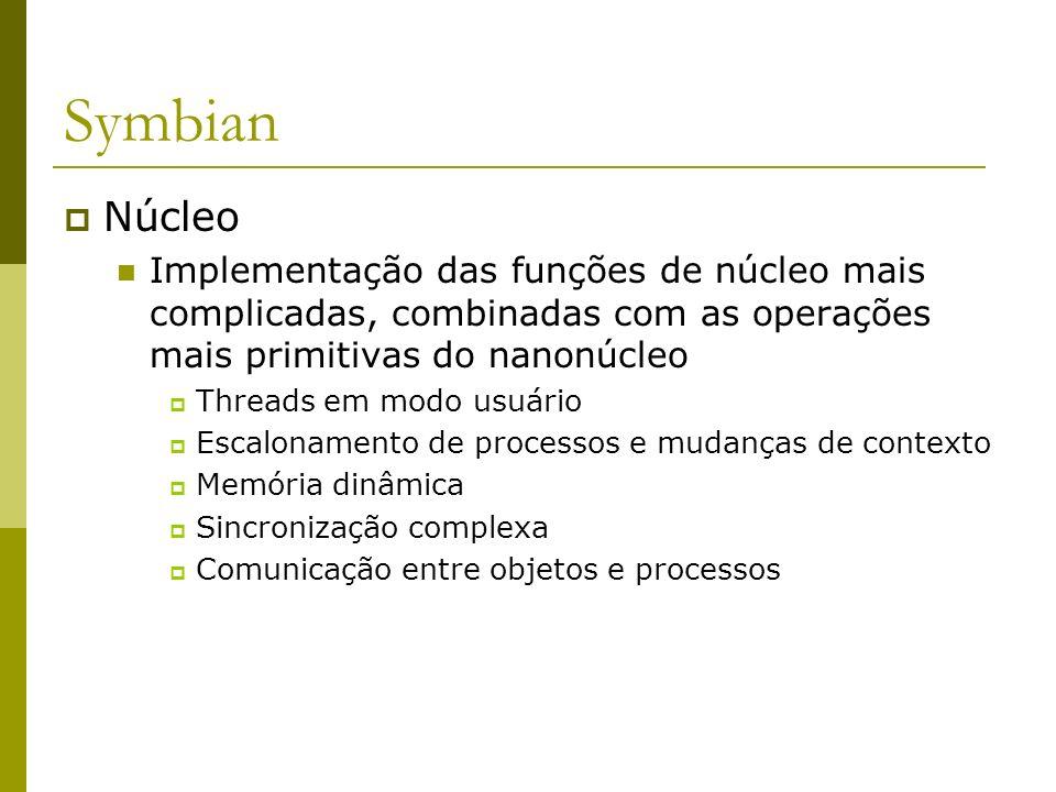 Symbian Núcleo. Implementação das funções de núcleo mais complicadas, combinadas com as operações mais primitivas do nanonúcleo.