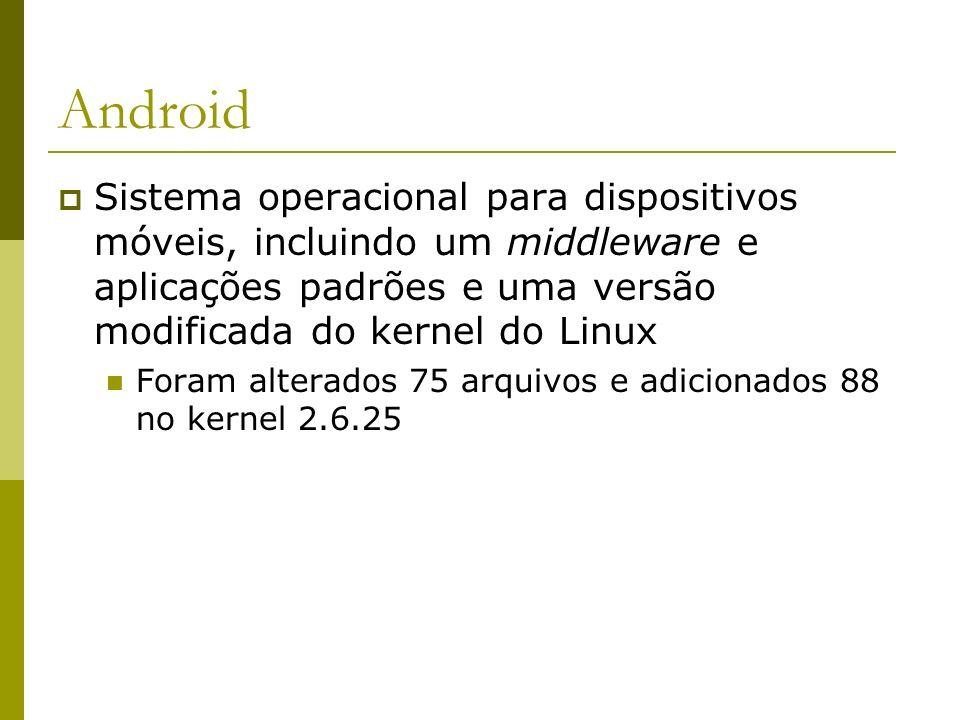 Android Sistema operacional para dispositivos móveis, incluindo um middleware e aplicações padrões e uma versão modificada do kernel do Linux.