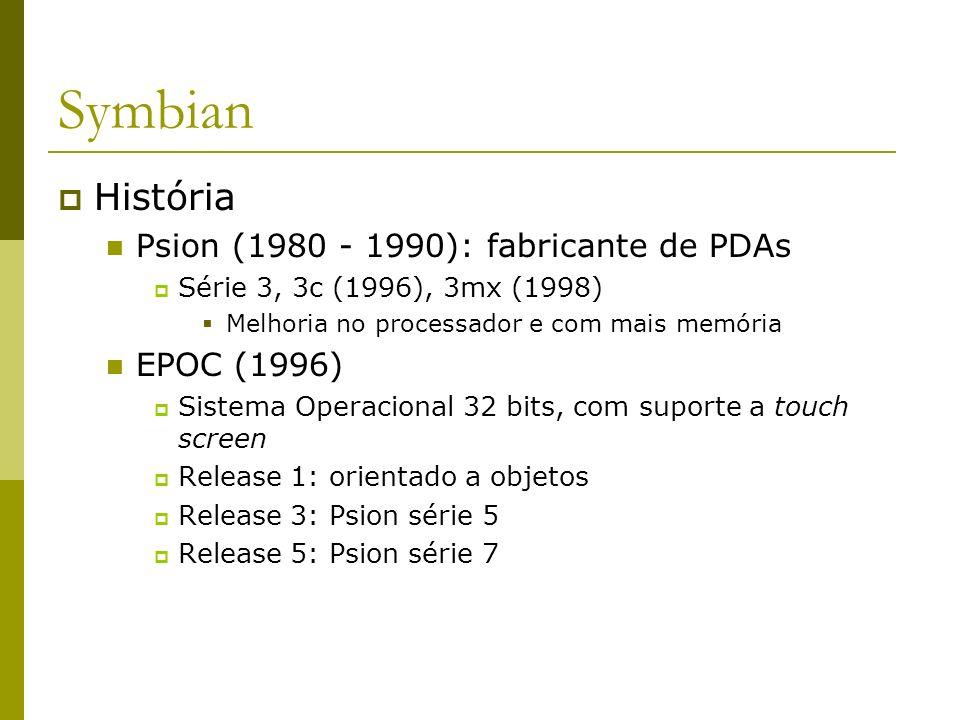 Symbian História Psion (1980 - 1990): fabricante de PDAs EPOC (1996)