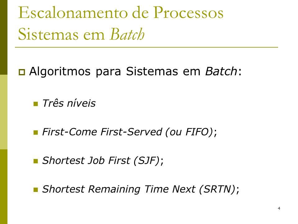 Escalonamento de Processos Sistemas em Batch