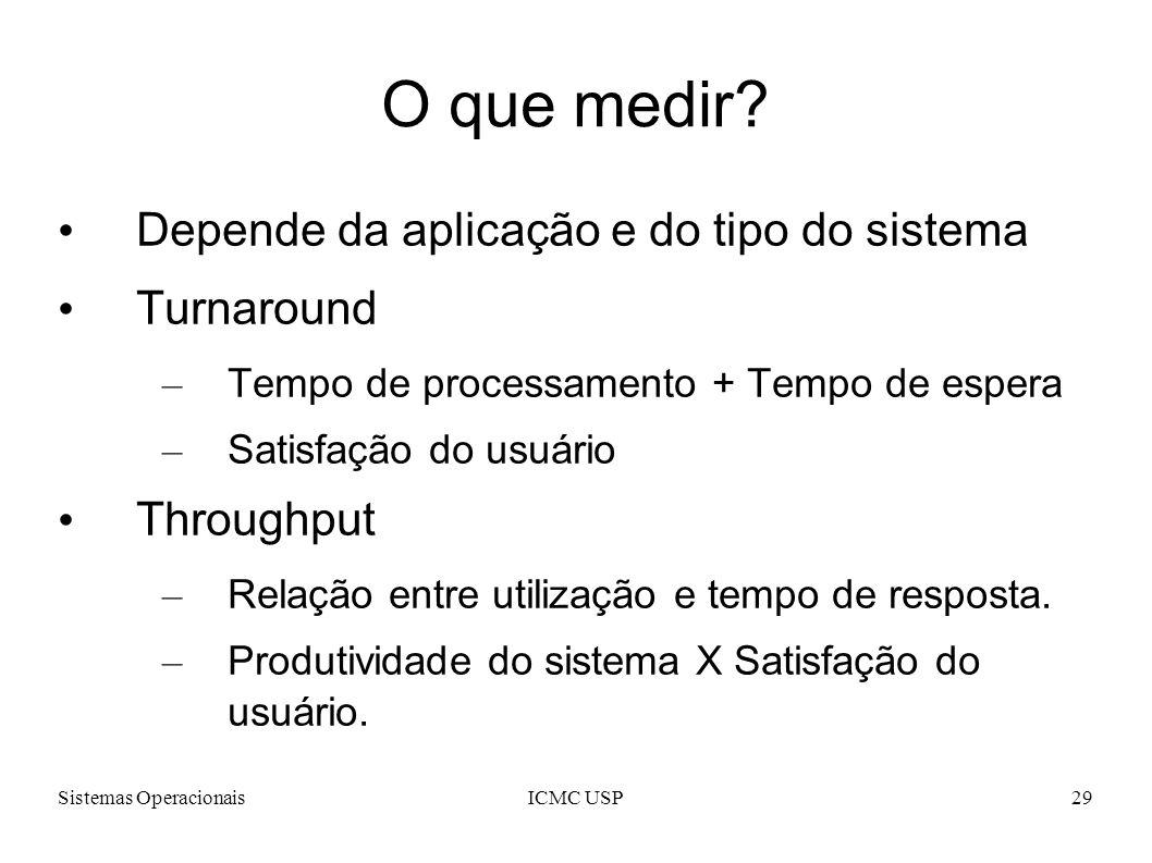 O que medir Depende da aplicação e do tipo do sistema Turnaround