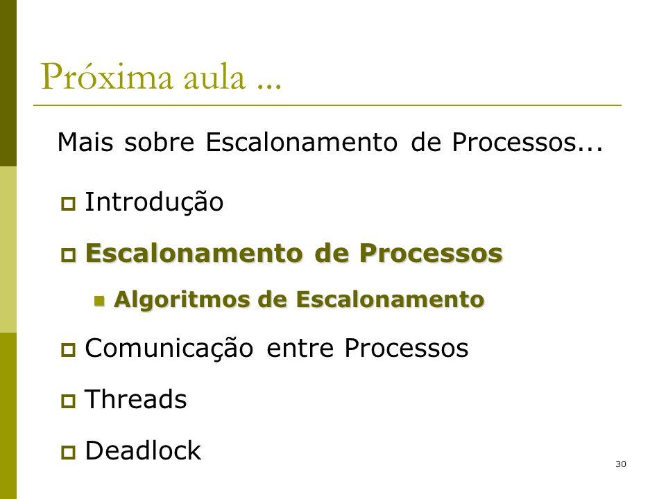 Próxima aula ... Mais sobre Escalonamento de Processos... Introdução