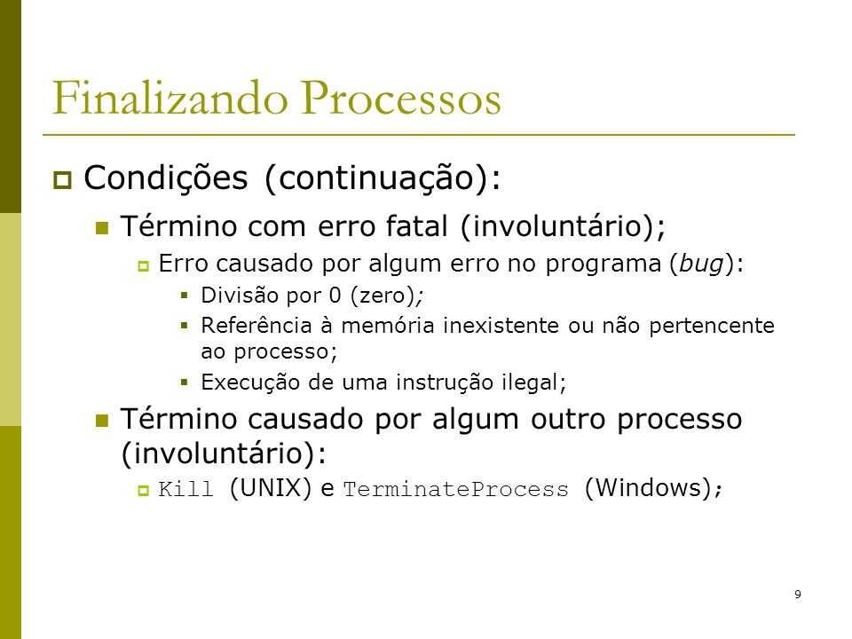 Finalizando Processos