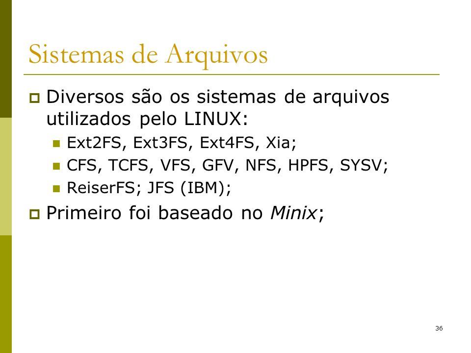 Sistemas de ArquivosDiversos são os sistemas de arquivos utilizados pelo LINUX: Ext2FS, Ext3FS, Ext4FS, Xia;