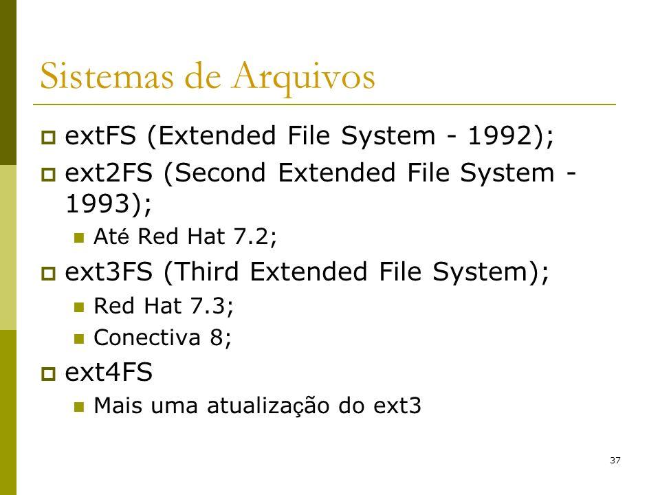 Sistemas de Arquivos extFS (Extended File System - 1992);