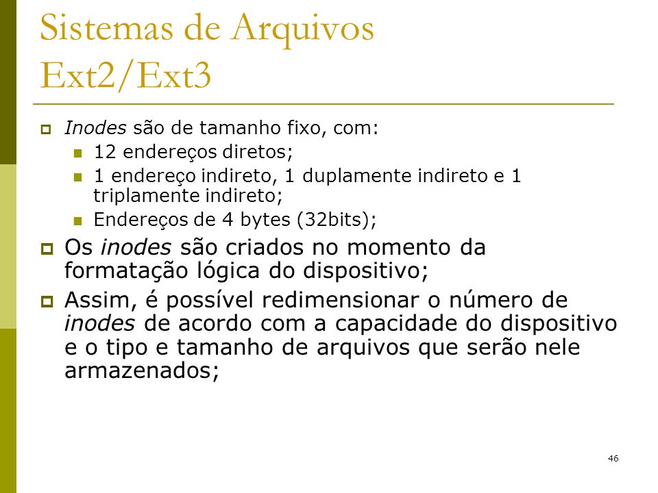 Sistemas de Arquivos Ext2/Ext3