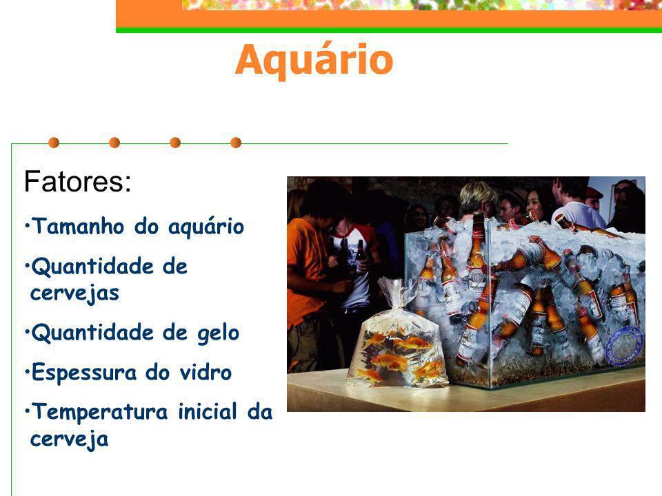 Aquário Fatores: Tamanho do aquário Quantidade de cervejas