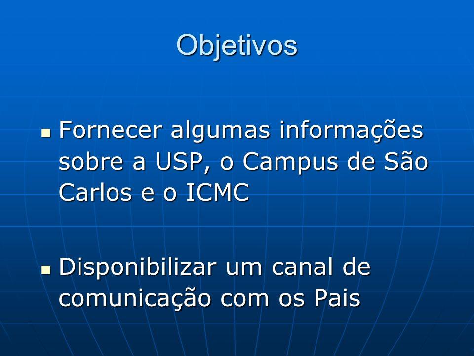 ObjetivosFornecer algumas informações sobre a USP, o Campus de São Carlos e o ICMC.