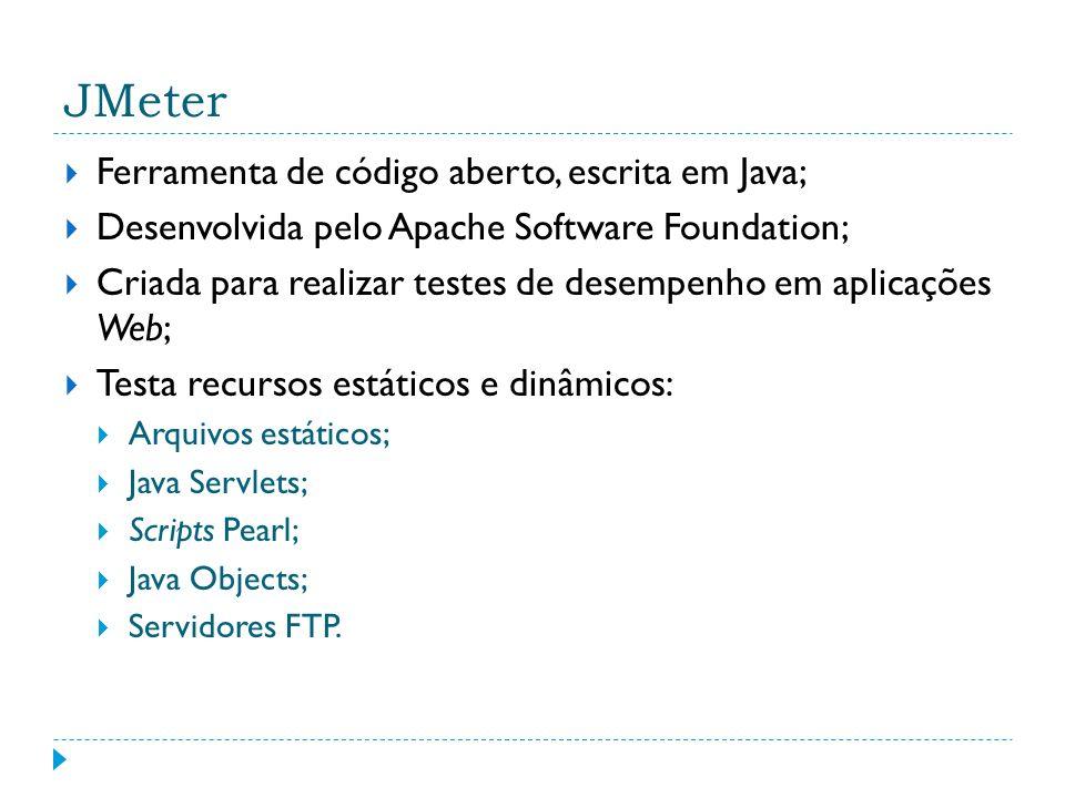 JMeter Ferramenta de código aberto, escrita em Java;