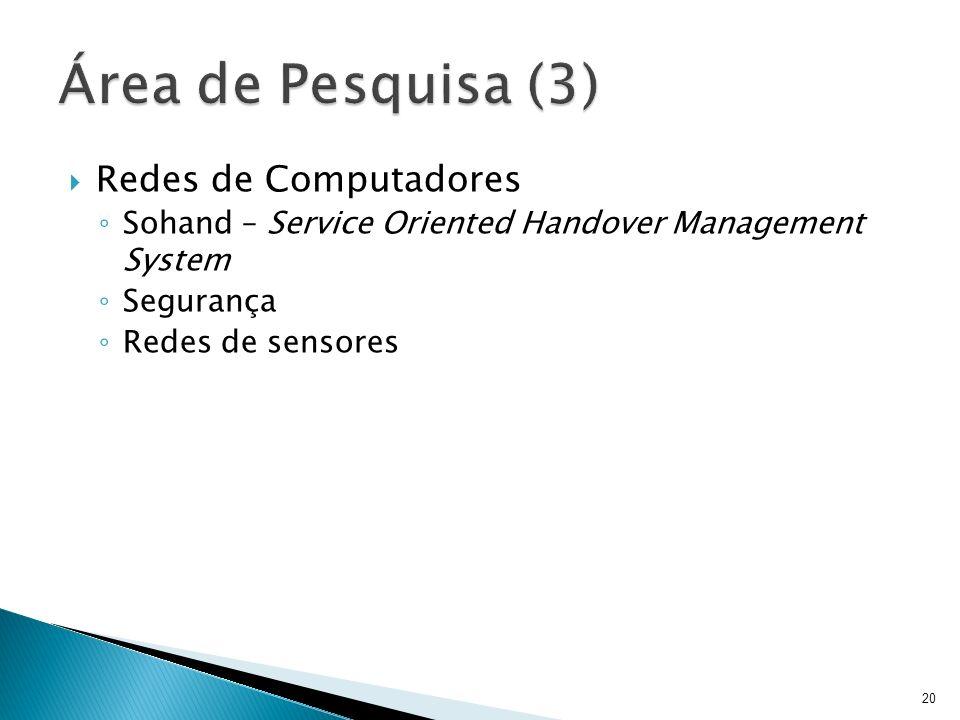 Área de Pesquisa (3) Redes de Computadores