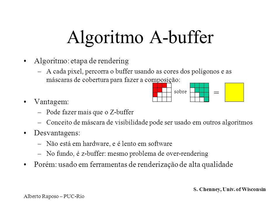 Algoritmo A-buffer = Algoritmo: etapa de rendering Vantagem: