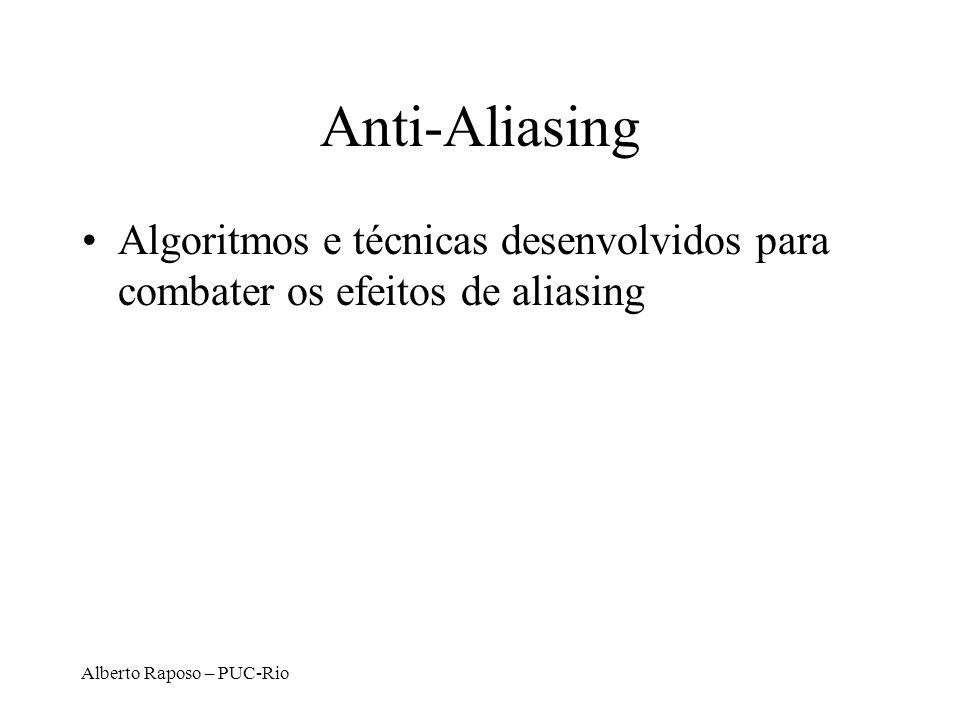 Anti-Aliasing Algoritmos e técnicas desenvolvidos para combater os efeitos de aliasing.