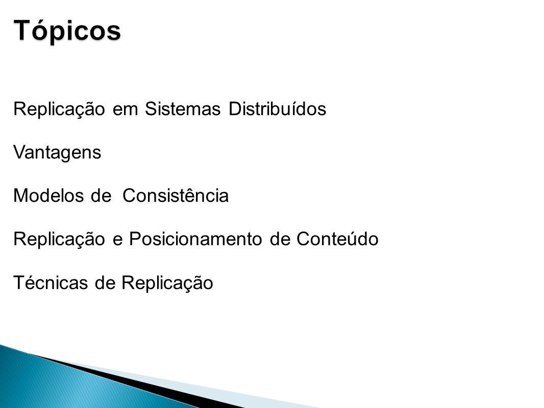 Tópicos Replicação em Sistemas Distribuídos Vantagens Modelos de Consistência Replicação e Posicionamento de Conteúdo Técnicas de Replicação